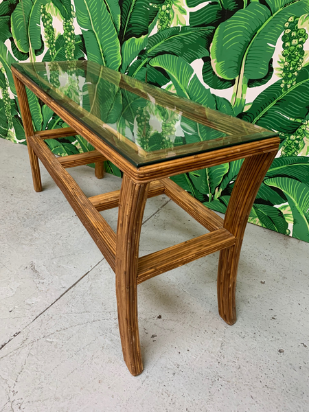 Split Reed Rattan Console Table top view