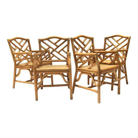 Chinese Chippendale McGuire Style Rattan Bamboo Arm Dining Chairs