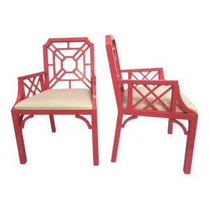 Pair of Lilly Pulitzer Pink Chinese Chippendale Chairs