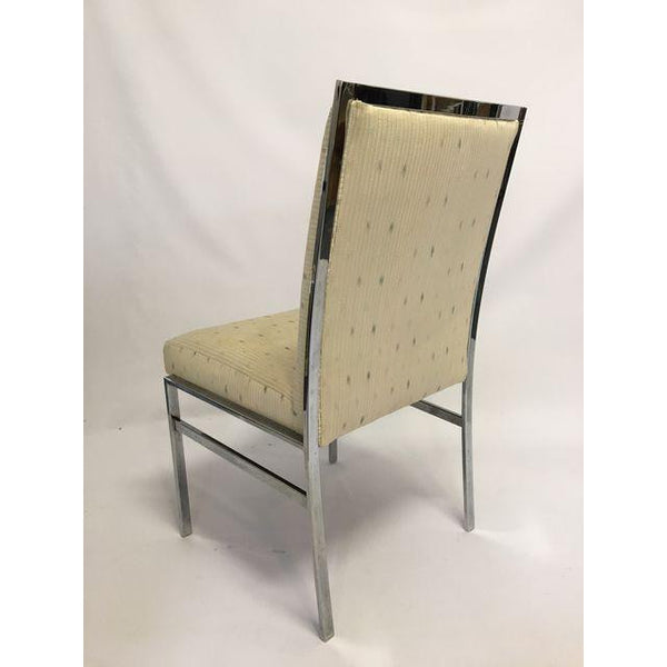 Chrome Upholstered Dining Chairs After Milo Baughman rear