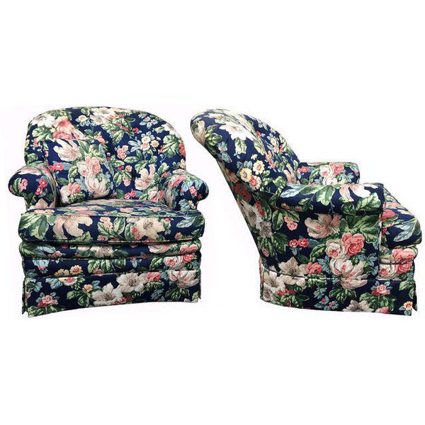 Pair of Heritage Dorothy Draper Style Floral Club Chairs