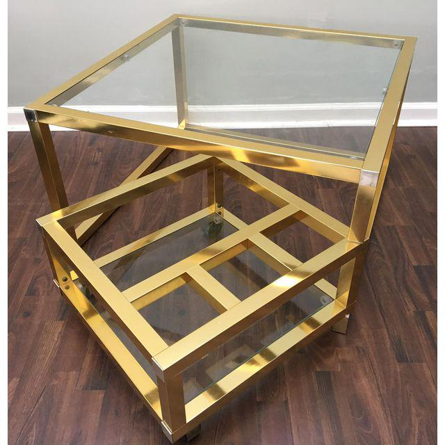 ... Cubist Brass Swivel Coffee Table With Wine Rack After Milo Baughman  Open ...