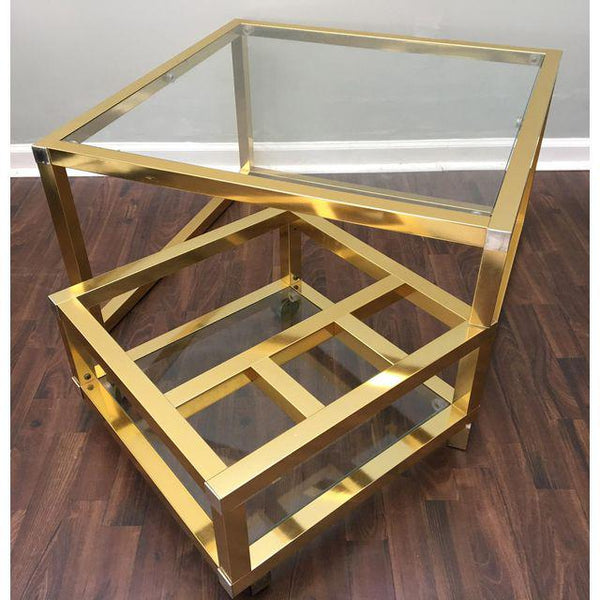 Cubist Brass Swivel Coffee Table with Wine Rack After Milo Baughman open