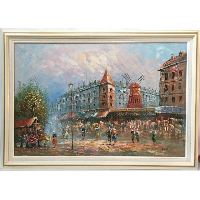 Vintage Caroline Burnett Signed Paris Moulin Rouge Street Scene Framed Oil  Painting