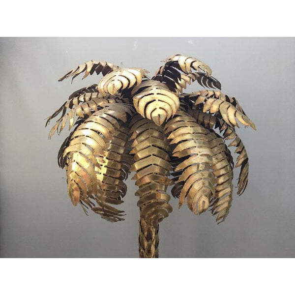 Maison Jansen Style Hollywood Regency Brass Palm Tree Floor Lamp top