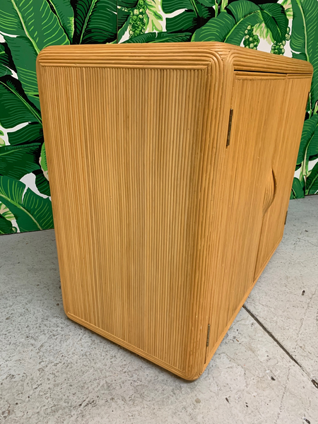 Split Reed Rattan Cabinet in the Manner of Gabriella Crespi