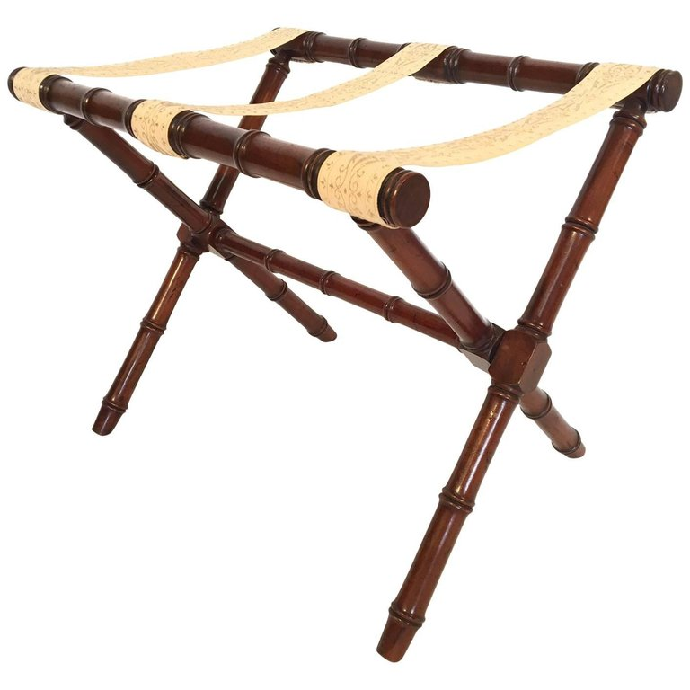 Faux Bamboo Carved Wood Luggage Rack by Kindel