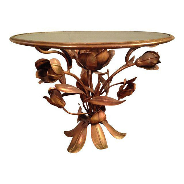 Gold Tole Tulip Flower Side Table
