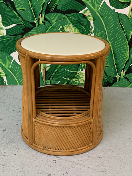 Split Reed Rattan Drum End Table in the Manner of Gabriella Crespi front view