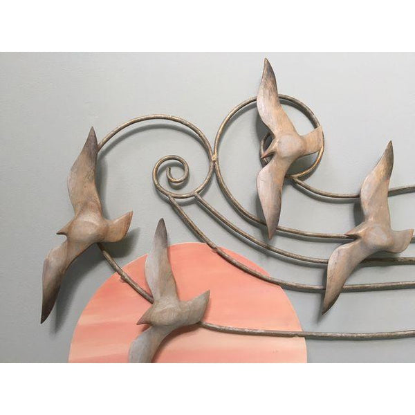 Metal Wall Art Sculpture Birds and Sun