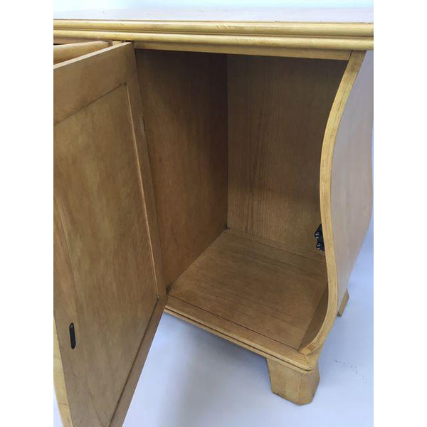 Art Deco Hollywood Regency Curved Wood Cabinet inside