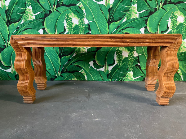 Split Reed Rattan Wrapped Console Table in the Manner of Gabriella Crespi