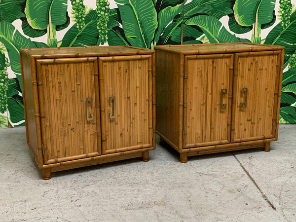 Bamboo and Rattan Chinoiserie Nightstands front view