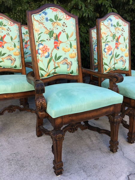 Set of Eight Louis XIV Style Chinoiserie Dining Chairs