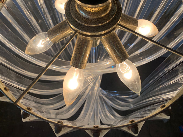 Vintage Lucite Hoop Ribbon Chandelier top view