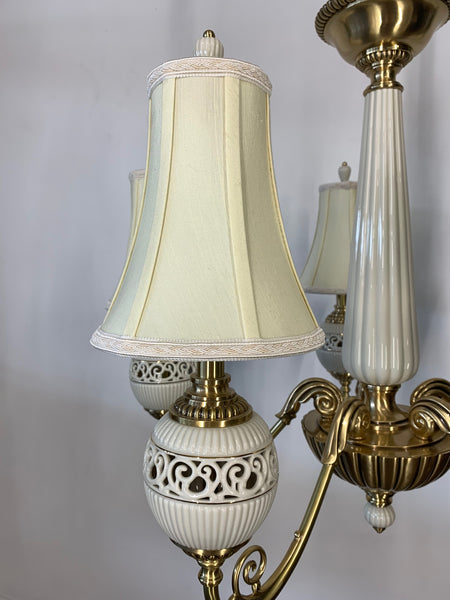 Brass and Ceramic Five Light Chandelier by Lenox close up