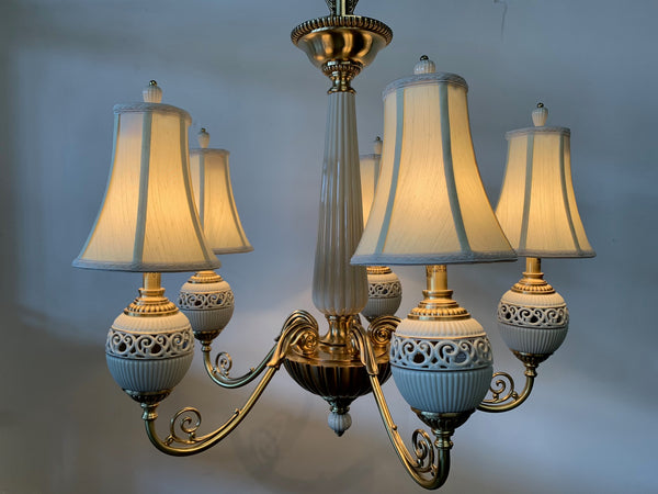 Brass and Ceramic Five Light Chandelier by Lenox front view