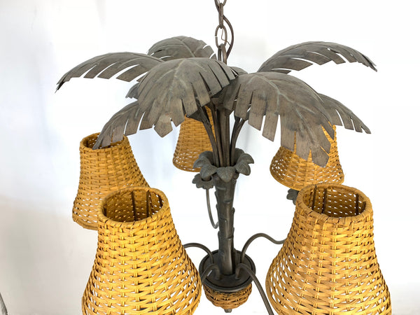 Vintage Metal Palm Tree Chandelier