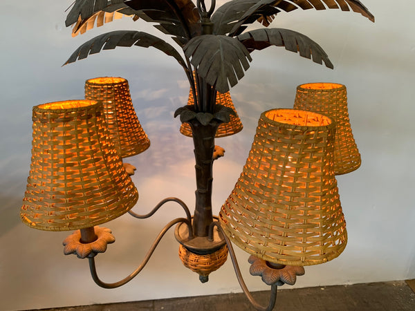 Vintage Metal Palm Tree Chandelier top view