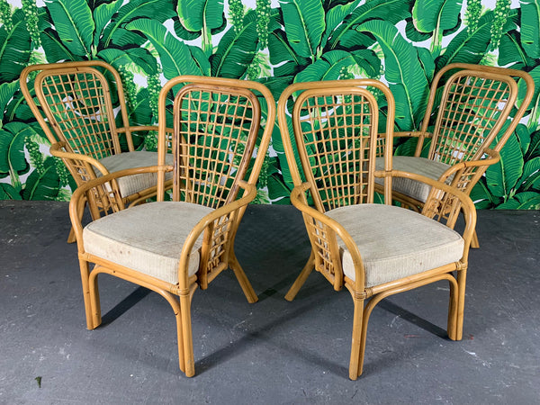 Set of Four Rattan Fan Back Arm Chairs