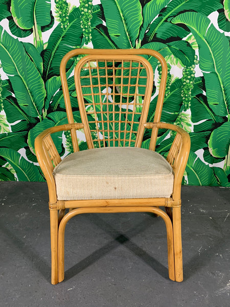 Set of Four Rattan Fan Back Arm Chairs front view