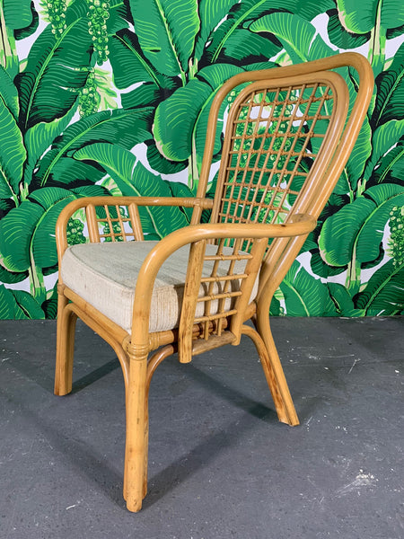Set of Four Rattan Fan Back Arm Chair