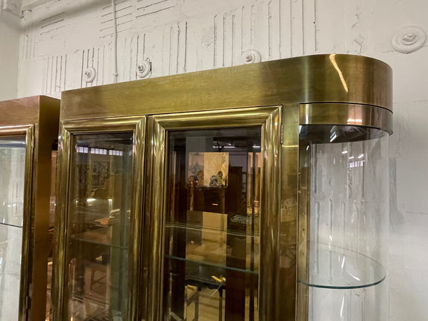 Mastercraft Brass and Glass Display or Vitrine Cabinets, a Pair upper view