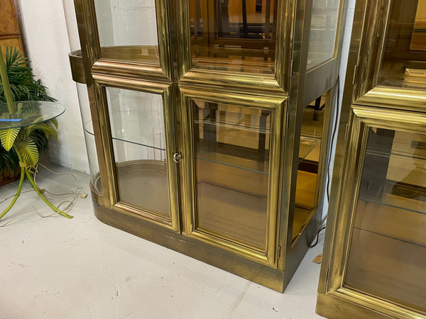 Mastercraft Brass and Glass Display or Vitrine Cabinets, a Pair lower view
