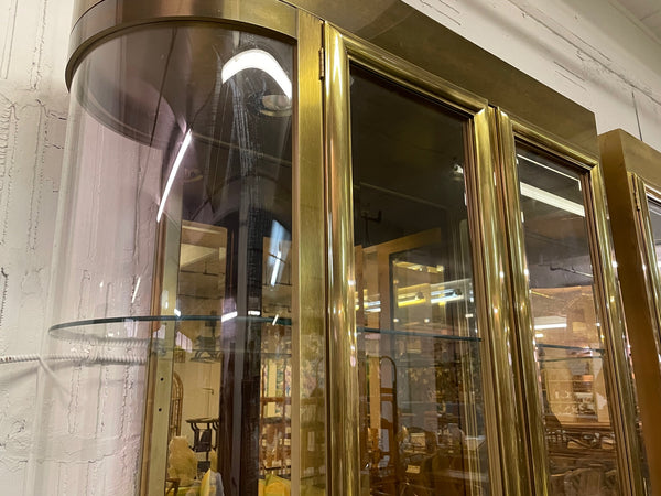 Mastercraft Brass and Glass Display or Vitrine Cabinets, a Pair side view