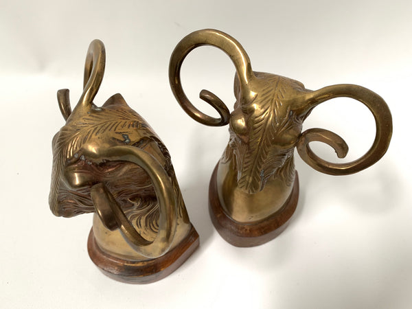 Pair of Vintage Brass Rams Head Bookends top view