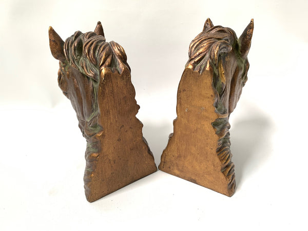 Pair of Sculptural Bronze Horse Head Bookends rear view