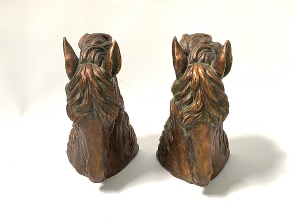 Pair of Sculptural Bronze Horse Head Bookends side view