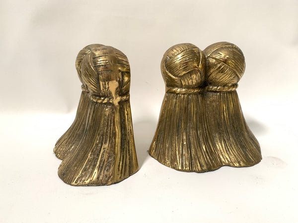 Pair of Solid Brass Tassel Bookends front view