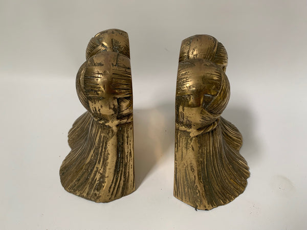 Pair of Solid Brass Tassel Bookends top view