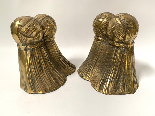 Pair of Solid Brass Tassel Bookends side view