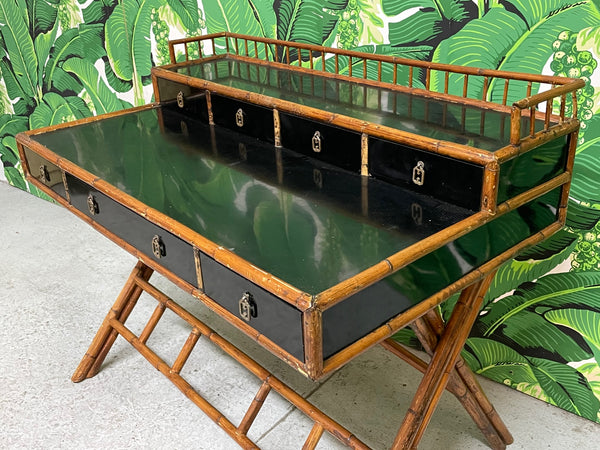 French Riviera Style Bamboo and Rattan Office Desk top view