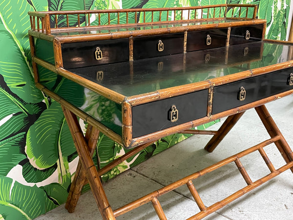 French Riviera Style Bamboo and Rattan Office Desk lower view