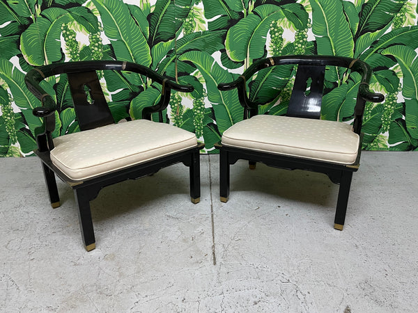 Pair of James Mont Style Horseshoe Chairs by Century front view