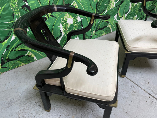 Pair of James Mont Style Horseshoe Chairs by Century