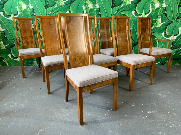 Burl Wood Dining Chairs by Founders Furniture in the Manner of Milo Baughman full view