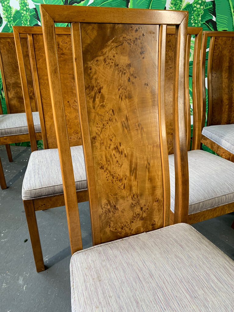 Burl Wood Dining Chairs By Founders Furniture In The Manner Of Milo Ba Marjorie And Marjorie