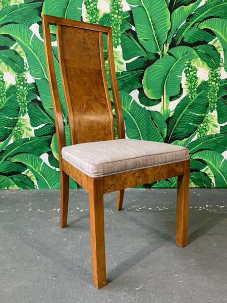 Burl Wood Dining Chairs by Founders Furniture in the Manner of Milo Baughman side view