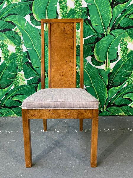 Burl Wood Dining Chairs by Founders Furniture in the Manner of Milo Baughman front view