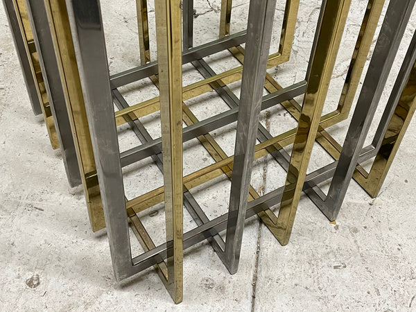 Pierre Cardin Chrome and Brass Brutalist Cube Dining Table lower view