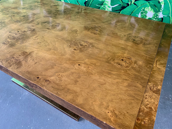Burl Wood Dining Table by Founders Furniture in the Manner of Milo Baughman