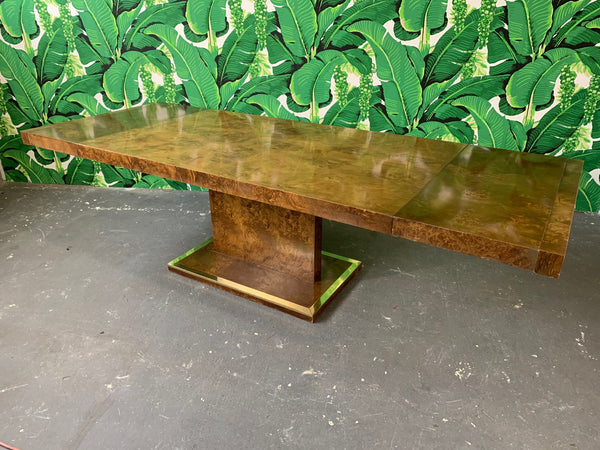 Burl Wood Dining Table by Founders Furniture in the Manner of Milo Baughman front view