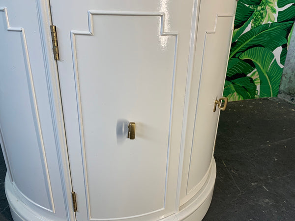Hollywood Regency Style Drum End Tables by Thomasville close up