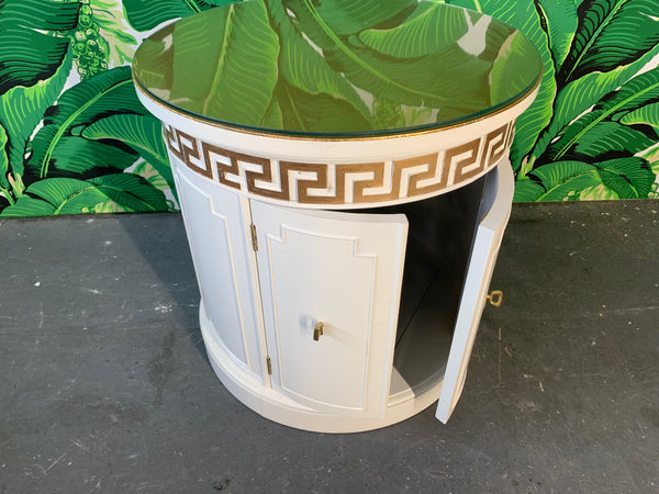 Hollywood Regency Style Drum End Tables by Thomasville open view
