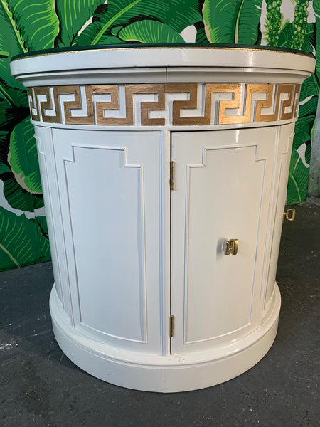 Hollywood Regency Style Drum End Tables by Thomasville side view