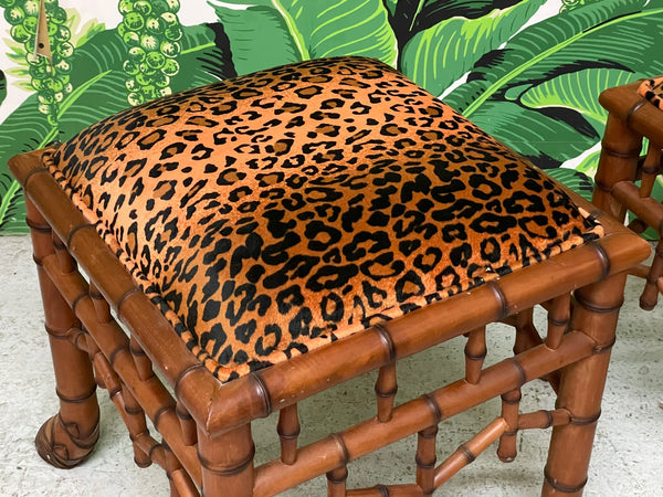 Faux Bamboo Pavilion Style Leopard Print Footstools, a Pair top view